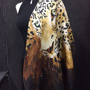 Leopard On My Back - Hand Painted Silk Scarf