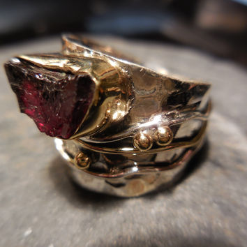 Natural Garnet Rough Gemstone Sterling Silver & Brass Ring - Size 8.5