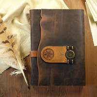 "Large Journal, Personalized Leather Notebook, Vintage Style Journal with Brown Leather and Parchment Old Pages, ""Rustic"""