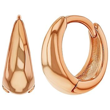 Rose Gold Plated Plain Hoop Huggie Teens Women Earrings 13mm
