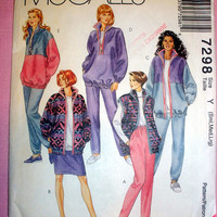 Women's Sportswear Jacket, Vest, Top, Skirt and Pants Misses' Size 8, 10, 12, 14, 16, 18 McCall's 7298 Sewing Pattern Uncut