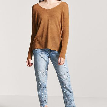 Semi-Sheer Slub-Knit V-Neck Sweater