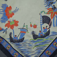 Vintage 1930s Silk Scarf, Japan Oriental Screenprint, 33 inches, Lingerie Silk, Novelty Print