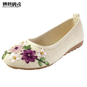 Women Vintage Ribbon Embroidered Flat Pump Shoes