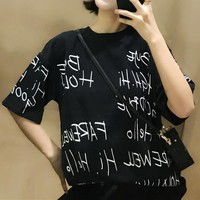 Women Fashion Casual Personality Oversize Letter Print Short Sleeve T-shirt Top Tee