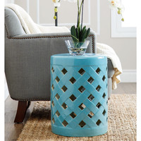ABBYSON LIVING Capiz Blue Ceramic Garden Stool | Overstock.com Shopping - The Best Deals on Garden Accents