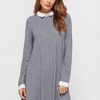 Grey Contrast Collar And Cuff A Line Dress