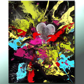 Abstract Art Painting on Canvas Original 16x20 Contemporary Modern  by Destiny Womack - dWo  - You Fill My Heart