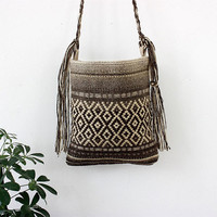 Unique handmade boho chic handbag in natural wool colors, handwoven wool bohemian crossbody bag with wool fringes