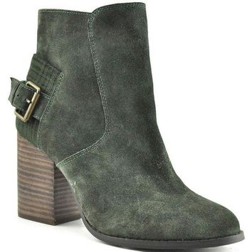 DCCKAB3 Sbicca Lorenza Forest Green Suede Heeled Booties