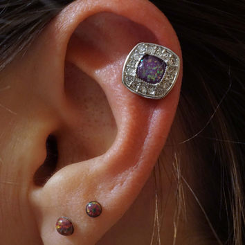 Purple Opal Tragus Gold Cartilage Earring