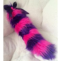 Alice In Wonderland Cheshire Cat Fur Tail with bow Rave Accessories