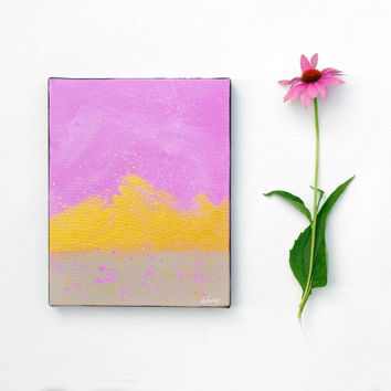Small Abstract art Original painting Purple and Gold modern Wall art on 8x10 canvas