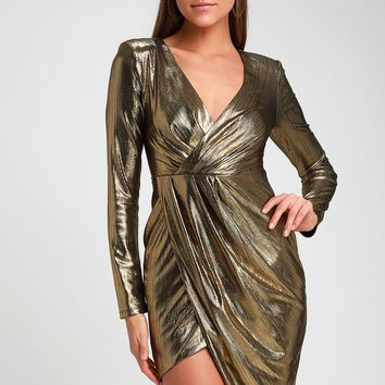 Violet Gold Metallic Long Sleeve Asymmetrical Mini Dress