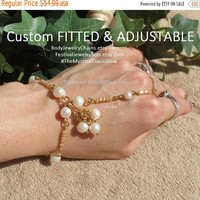 Sale Gold plated brass Real Pearl Jewelry Ivory freshwater pearls slave bracelet ring bracelet with Champagne Crystal faceted bead Soldered
