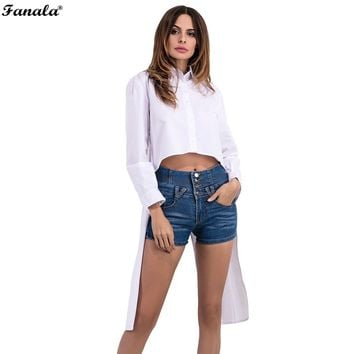 FANALA 2017 Summer Shirts Women White Turn-Down Long Sleeve High Low Hem Cotton Blouses Lady Fashion Loose Tops Tie #30-20