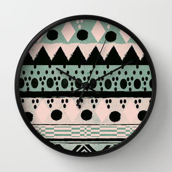 PASTEL NORDIC TRIBAL  Wall Clock by Nika