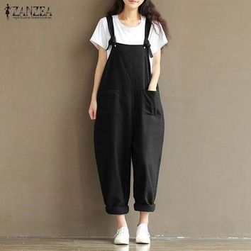 DCCKLW8 2017 ZANZEA Rompers Womens Jumpsuits Casual Vintage Sleeveless Backless Casual Loose Solid Overalls Strapless Paysuits Plus Size