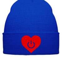 LOVE POWER EMBROIDERY HAT - Beanie Cuffed Knit Cap