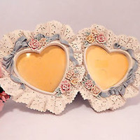 Wedding Picture Frame Double Heart White Pink Blue Floral Resin Easel Back Gift