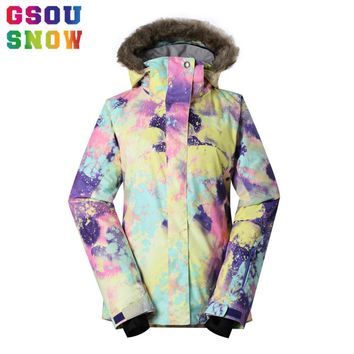 Gsou Snow Brand Ski Jacket Women Waterproof Snowboard Jacket Warmth Fur Hooded Winter Outdoor Snow Coat Skiing Snowboarding