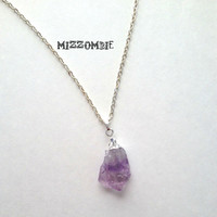 Raw amethyst point pendant necklace  electroplated silver , 24inch chain