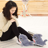 Winter Super Animal Funny Shoes For Men and Women Warm Soft Bottom Home&House Indoor Floor Shark Shape Furry Slippers Shallows