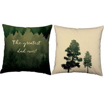 Set of 2 Dad Throw Pillows - Father's Day Pillow Covers with or without Cushion Covers - Forest Print Pillows, Gifts for Dad, New Dad Gift