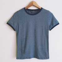 Harper Blue Striped Ringer Tee