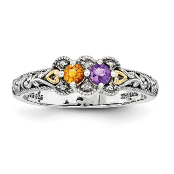Sterling Silver & 14k Two-stone and Diamond Mother's Ring QMR38/2SY