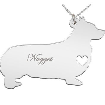 Pembroke Welsh Corgi Necklace Custom Made Stainless Steel iHeart Dog - Personalized Necklace.Engraving.Stainless Steel chain.