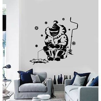 Vinyl Wall Decal Ocean Fish Hobby Winter Fishing Hunting Stickers Mural (g1768)