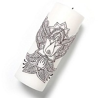 Henna Lotus Pillar Candle