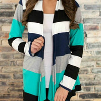 Collarless Long Sleeve Stripe Cardigan