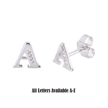 CZ Initial Letter Earrings 925 Sterling Silver All Letters Available A to Z