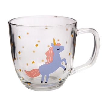 380ml Unicorn Glass Thicken Belt Glass Fresh Milk Breakfast Cup Juice Drink Cup Coffee Mug