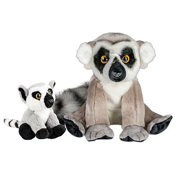 10 and 5 Inch Stuffed Ring-tailed Lemur Mom and Baby Plush Floppy Zoo Animal Kingdom Family Collection