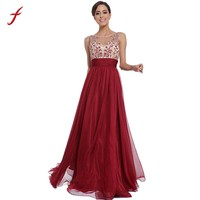 2018 Women Summer Dress Long Maxi Cocktail Party Deeo V-Neck Backless Sleeveless Print Ball Prom Gown Formal Dress