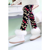 Girl's Super Warm, Winter Lined Leggings-Strawberry Bows