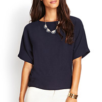LOVE 21 Boxy Georgette Top Navy