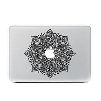"Black Mandala Floral MacBook Skin Decal Sticker for Apple Macbook Pro Air Mac 13"" inch Laptop 13 Inch N0009-1"