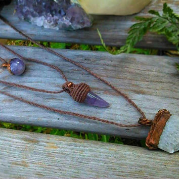 Amethyst Necklace | Raw Amethyst Cluster | Copper Electroformed | Boho Layering Necklace | Rustic