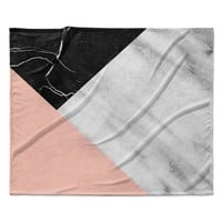 "Cafelab ""Marble Collage With Pale Pink ""  Gray Pink Fleece Throw Blanket"