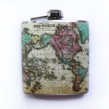 Vintage Map Flask World Map from 1855, Travel Present, Father's Day Gift, Antique Wanderlust