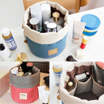 New Fashion Travel Makeup Bag Cosmetic Pouch Handbag Toiletry Antique Case Cylindrical [6435032644]