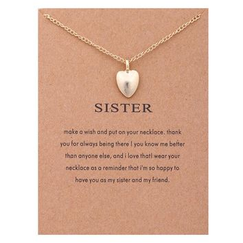 Golden Frosted Heart Card Alloy Clavicle Pendant Necklace  171208