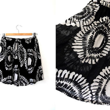 Tie dye sunflower skirt / black / white / semi-sheer / vintage / reworked / summer / elasticated / skater / floaty summer mini skirt
