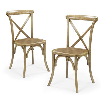 Elm Wood Rattan Cane Antique Stacking Dining Chairs (Set of Two)