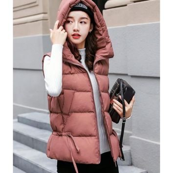 Womens Short Zipped Up Puffer Hooded Vest in Pink