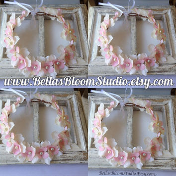 Flower crown,flower halo,blush pink,Bridal wedding crown,blush pink crown,bridal halo,Beach wedding headpiece,flower girl halo,crown etsy